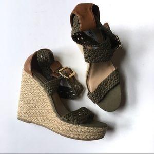 Steve Madden River Olive Wrap Wedges Crochet 8.5